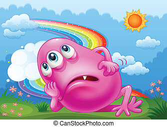 arco-íris cor-de-rosa, monstro, cansadas, céu, hilltop
