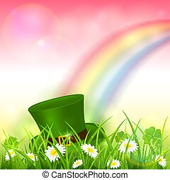 arco-íris cor-de-rosa, natureza, patrick, fundo, chapéu leprechaun, dia