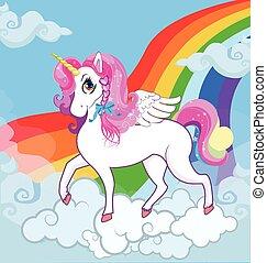 arco-íris cor-de-rosa, nuvens, céu, cabelo, unicórnio, branca