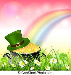 arco-íris cor-de-rosa, ouro, natureza, patrick, fundo, chapéu, dia