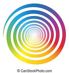 arco íris, cor, gradiente, espiral, branca