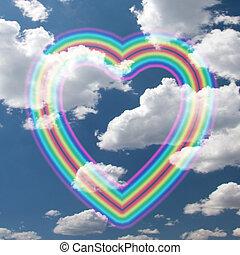 arco íris, coração