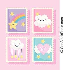 arco íris, coração, cute, encantador, caricatura, ícones, estrelas, nuvens, selos