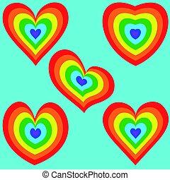 arco íris, coração, jogo, 2