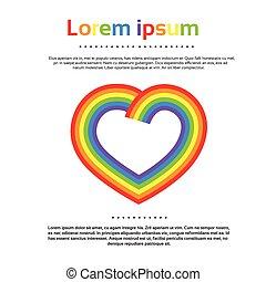 arco íris, coração, logotipo, coloridos, ícone, vetorial