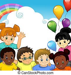 arco íris, crianças, junto