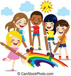 arco íris, crianças, quadro