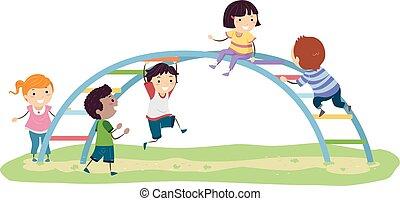 arco íris, crianças, stickman, ilustração, pátio recreio, barzinhos