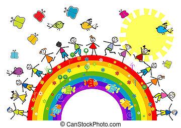 arco íris, crianças, tocando, doodle