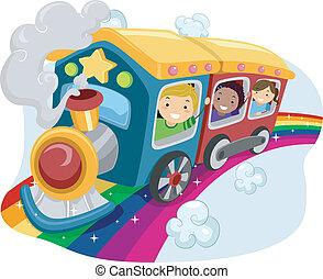 arco íris, crianças, trem