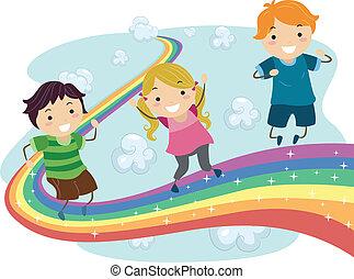 arco íris, crianças