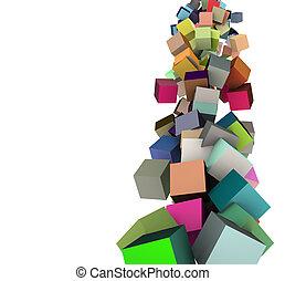 arco íris, cubos, múltiplo, render, cores, cadeias, 3d
