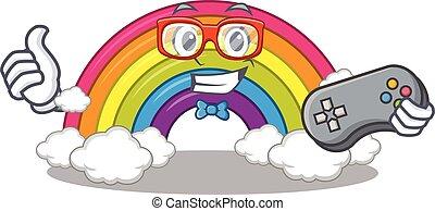 arco íris, desenho, controlador, usando, mascote, gamer, conceito