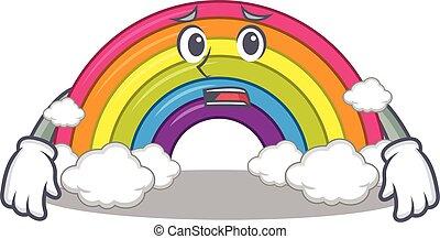 arco íris, desenho, rosto, preocupado, mostrando, estilo, caricatura