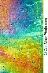 arco íris, dof., raso, metal, experiência., galvanizado