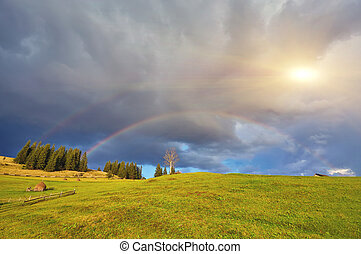 arco íris, e, sol, chuva