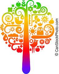 arco íris, ecológico, árvore, ícones