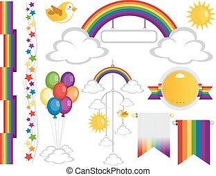 arco íris, elementos, desenho, partido