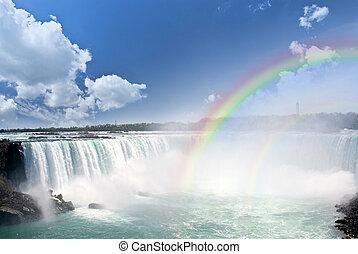 arco-íris, em, niagara cai