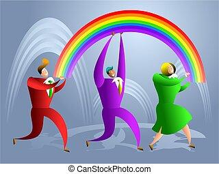 arco íris, equipe