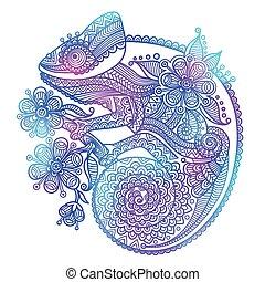 arco íris, esboço, camaleão, isolado, ilustração, vetorial, fundo, branca