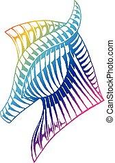 arco íris, esboço, colorido, vectorized, cavalo, tinta