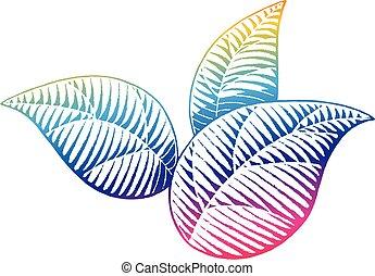 arco íris, esboço, colorido, vectorized, folhas, ilustração, tinta