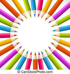 arco íris, escola, círculo, costas, lápis