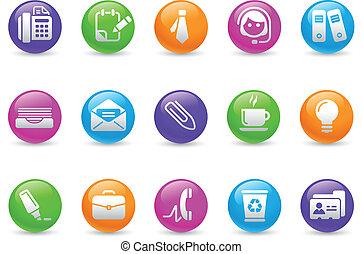 arco íris, escritório, negócio, &, ícones, /