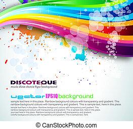 arco íris, espectro, fundo, voadores, folheto, ou