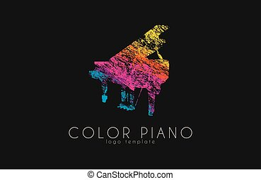 arco íris, estilo, grunge, cor, criativo, música, piano, logo.