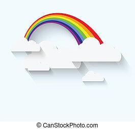 arco íris, estilo, nuvens, apartamento, longo, whadow