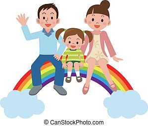 arco íris, família feliz, sentando