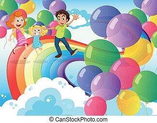 arco íris, família, ilustração, flutuante, balões, tocando, feliz