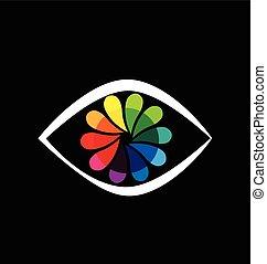 arco íris, flor, olho, logotipo