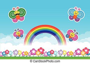 arco íris, flores azuis, céu, fundo, capim, borboleta, verde, natureza