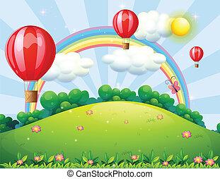 arco íris, flutuante, balões, hilltop