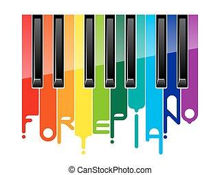 arco íris, fortepiano, teclado