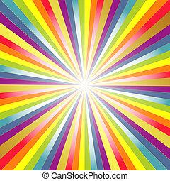 arco íris, fundo, com, raios
