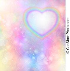 arco íris, fundo, coração