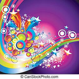 arco íris, fundo, estrelas, absrtact