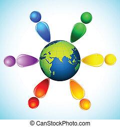 arco íris, globo, pessoas, colorido, ao redor