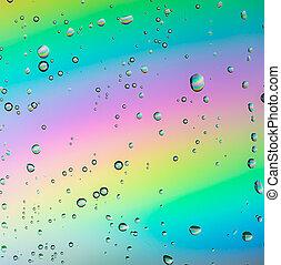 arco íris, gotas água