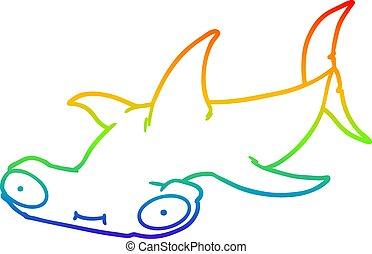 arco íris, hammerhead, gradiente, tubarão, desenho, linha,...