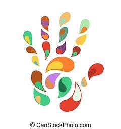 arco íris, impressão mão