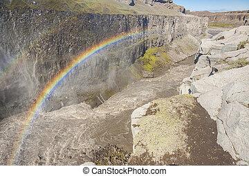 arco íris, Islândia, sobre,  -, Cachoeira,  dettifos