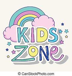 arco íris, jogo, crianças, nuvens, zona