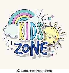 arco íris, jogo, crianças, zona, sol