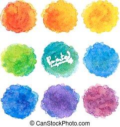 arco íris, jogo, manchas, aquarela, cores, vetorial