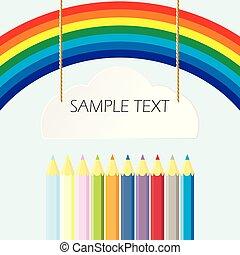 arco íris, lápis, com, lugar, para, seu, text., vetorial, ilustração